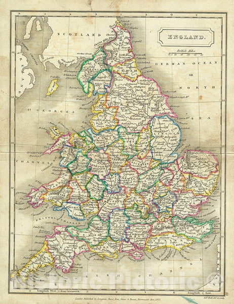 Historic Map : Butler Map of England, 1822, Vintage Wall Art