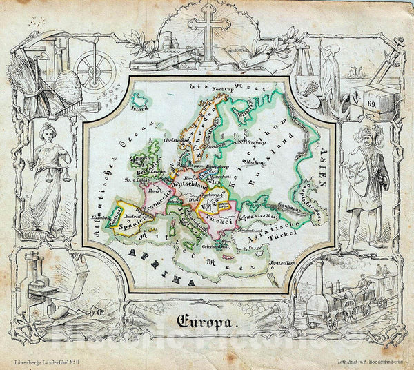 Historic Map : Lowenberg Whimsical Antique Map of Europe, 1846, Vintage Wall Art