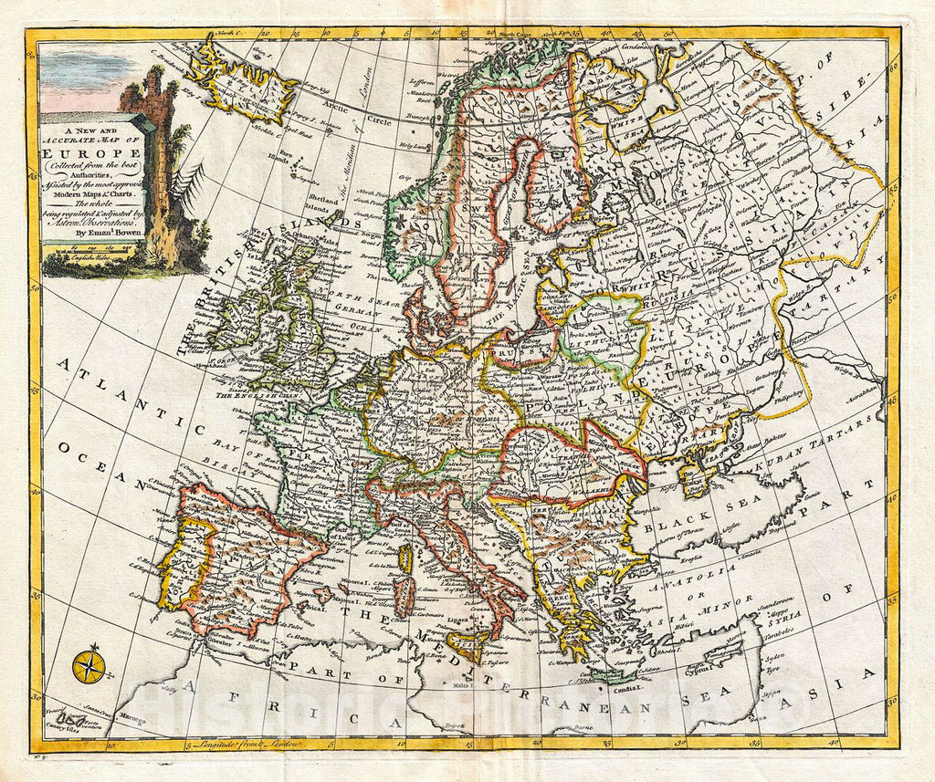 Historic Map : Bowen Map of Europe, 1747, Vintage Wall Art