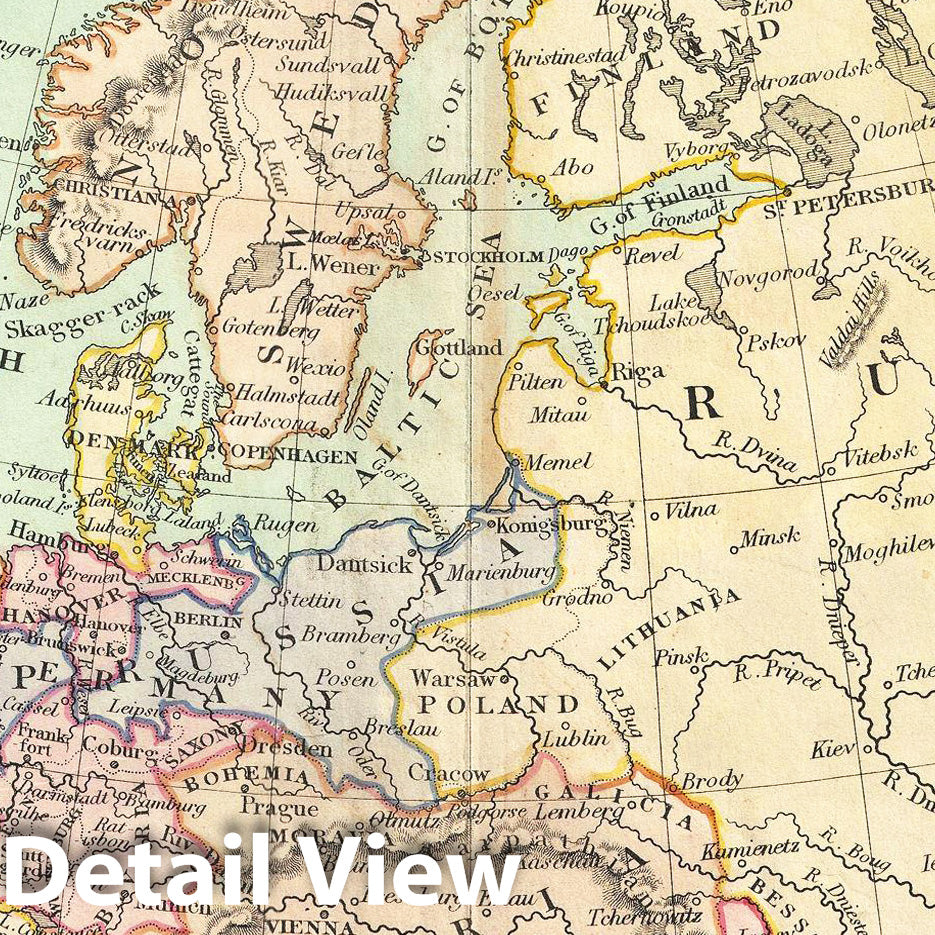 Historic Map : Cruchley Map of Europe, 1850, Vintage Wall Art