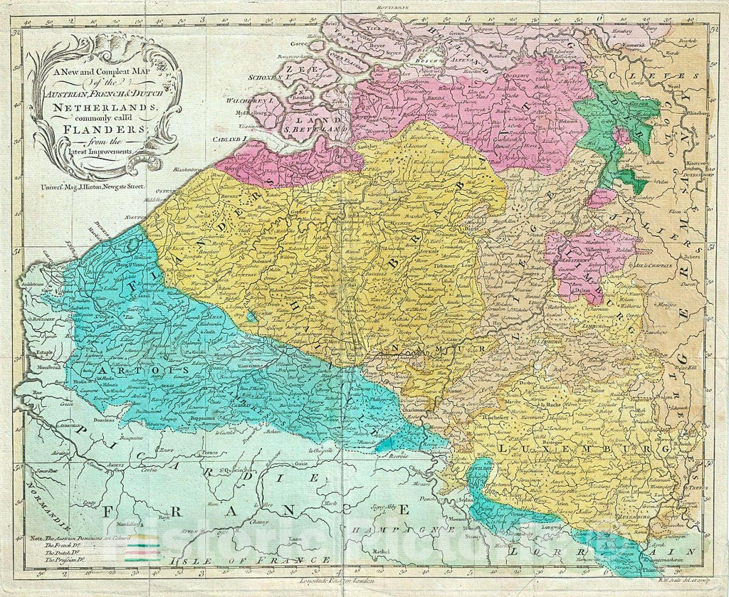 Historic Map : Seale Map of Flanders (Belgium, Holland and Luxemburg), 1760, Vintage Wall Art