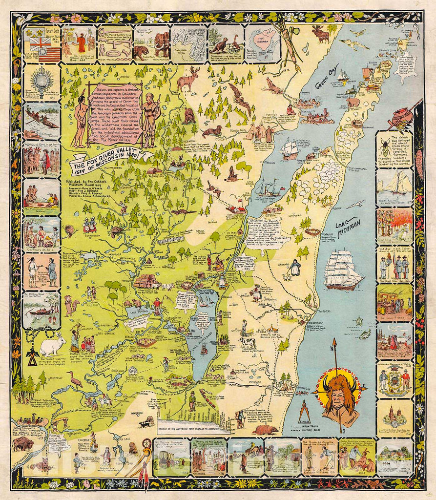 Historic Map : Behncke Pictorial Antique Map of The Foin x River Valley and Green Bay, Wisconsin, 1931, Vintage Wall Art