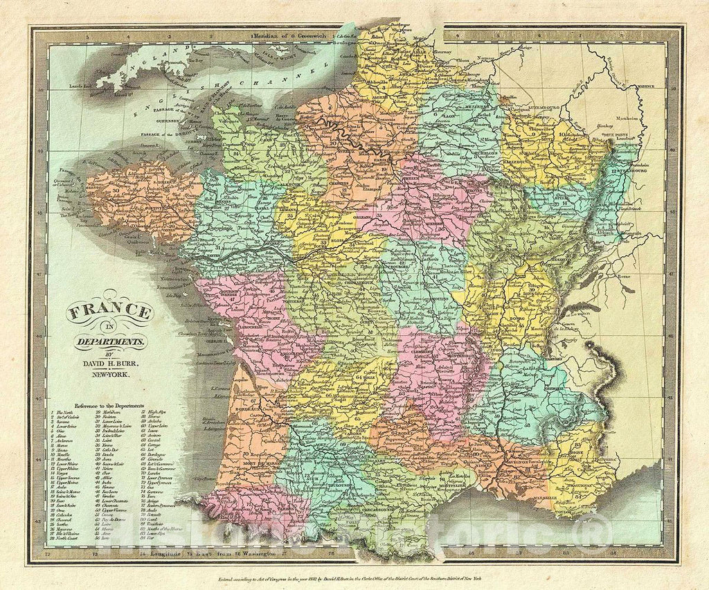 Historic Map : Burr Map of France in Departments, 1832, Vintage Wall Art