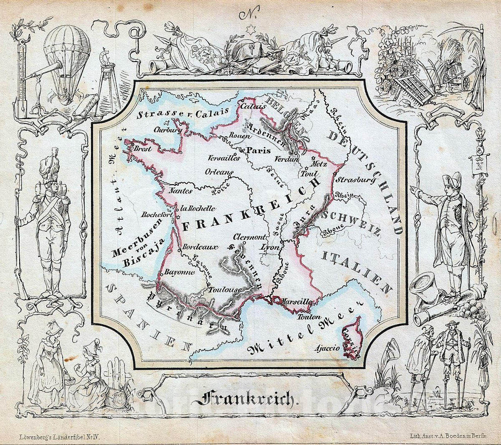 Historic Map : Lowenberg Whimsical Antique Map of France, 1846, Vintage Wall Art