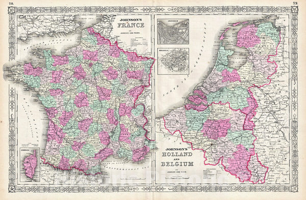 Historic Map : Johnson Map of France, Holland and Belgium, Version 2, 1864, Vintage Wall Art