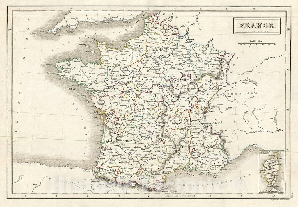 Historic Map : Black Map of France in Provinces, 1844, Vintage Wall Art