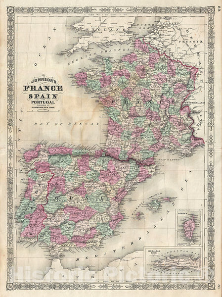 Historic Map : Johnson Map of France, Spain and Portugal, 1866, Vintage Wall Art
