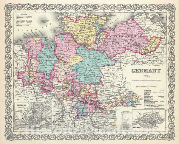Historic Map : Colton Map of Northern Germany: Hanover and Holstein, 1856, Vintage Wall Art