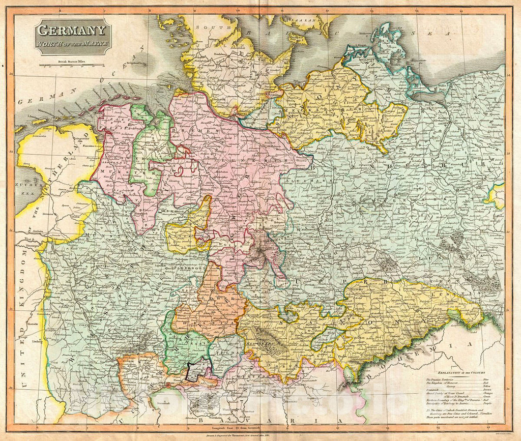 Historic Map : Thomson Map of Germany North of The Mayne River, 1816, Vintage Wall Art