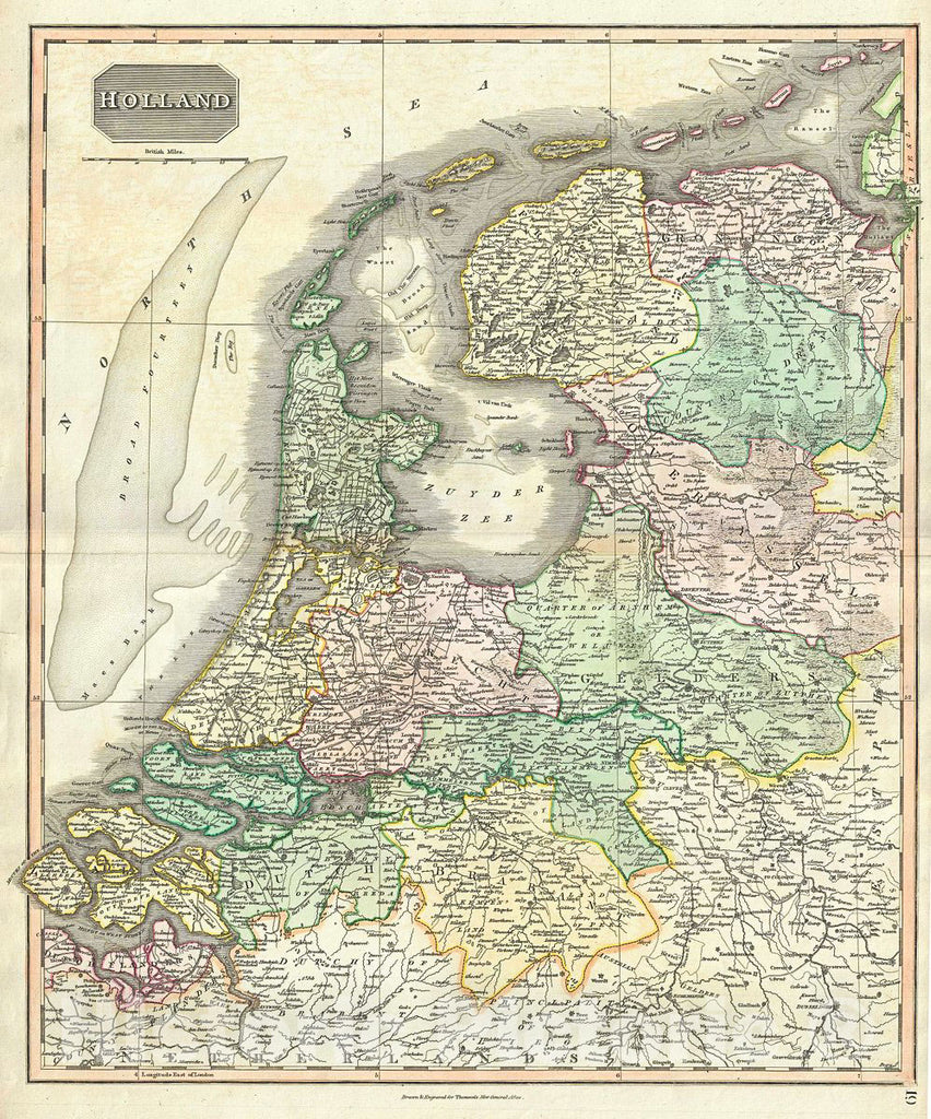 Historic Map : Thomson Map of Holland (The Netherlands), 1817, Vintage Wall Art