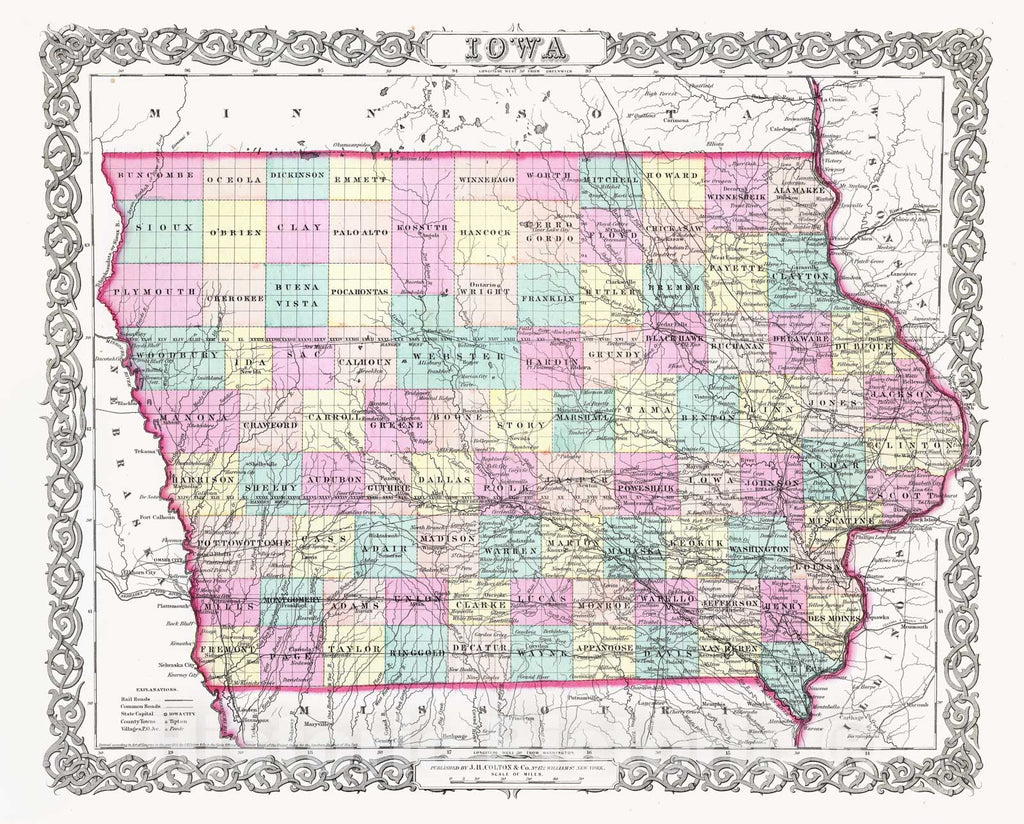 Historic Map : Colton Map of Iowa, 1856, Vintage Wall Art