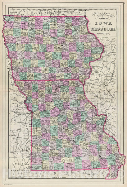 Historic Map : Bradley Map of Iowa and Missouri, 1887, Vintage Wall Art
