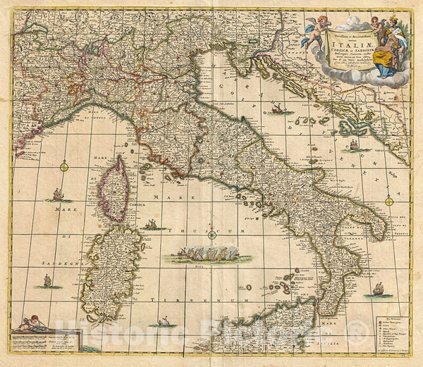 Historic Map : De Wit Antique Map of Italy, 1721, Vintage Wall Art