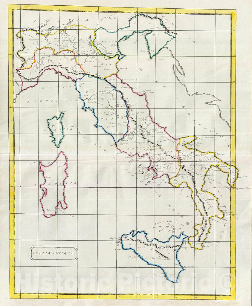 Historic Map : Manuscript Map of Italy in Antiquity, 1823, Vintage Wall Art