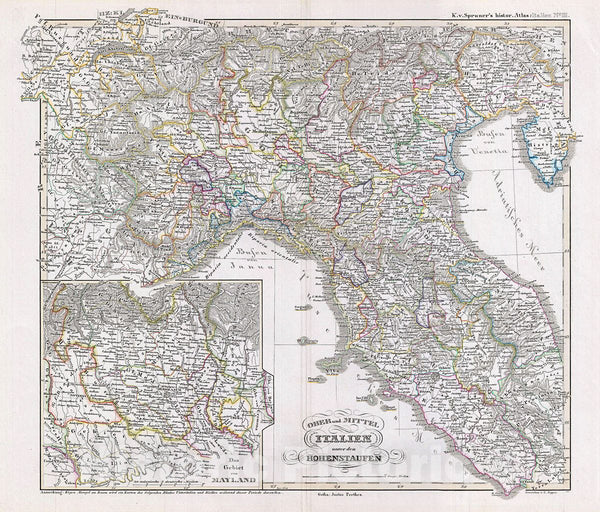Historic Map : Spruner Antique Map Northern Italy Under The Hohenstaufen Dynasty, 1854, Vintage Wall Art