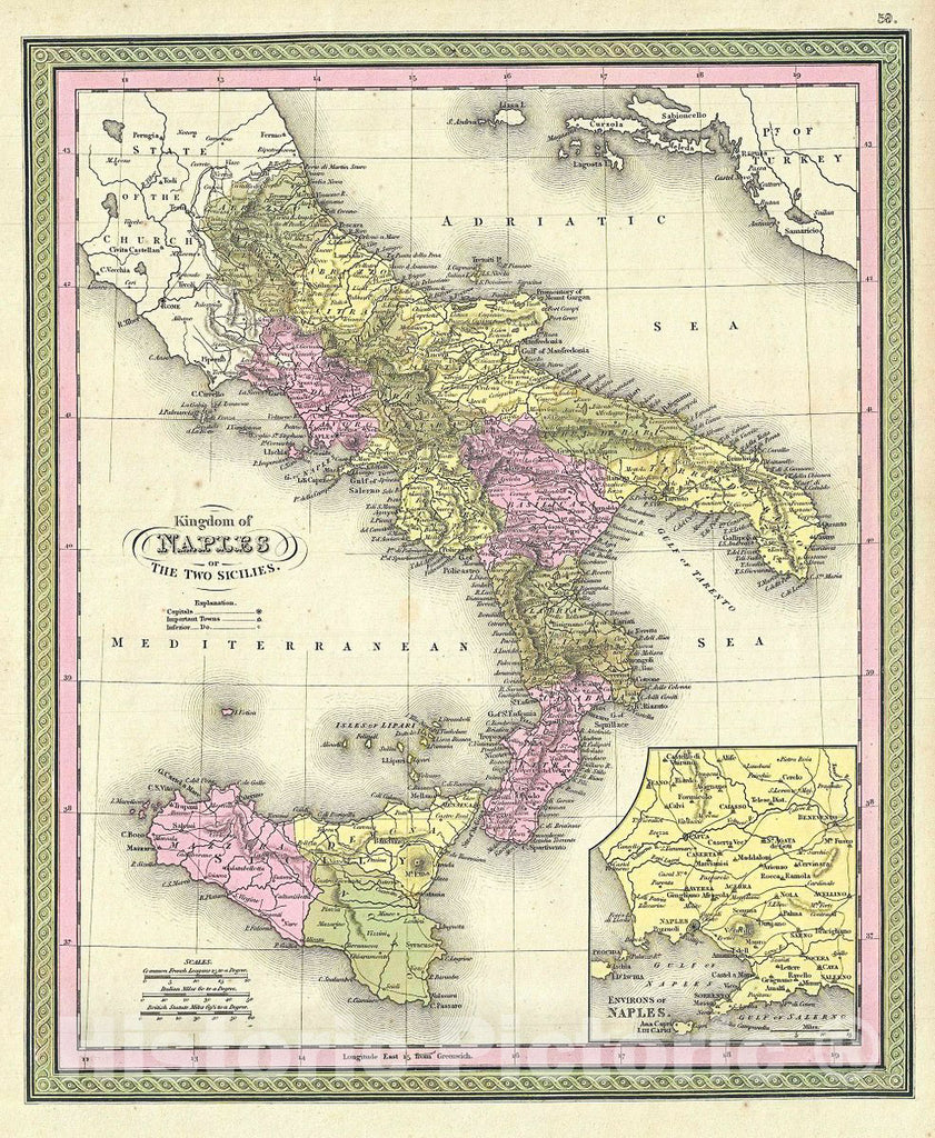 Historic Map : Mitchell Map of Southern Italy: The Kingdom of Naples and The Two Sicilies, 1849, Vintage Wall Art