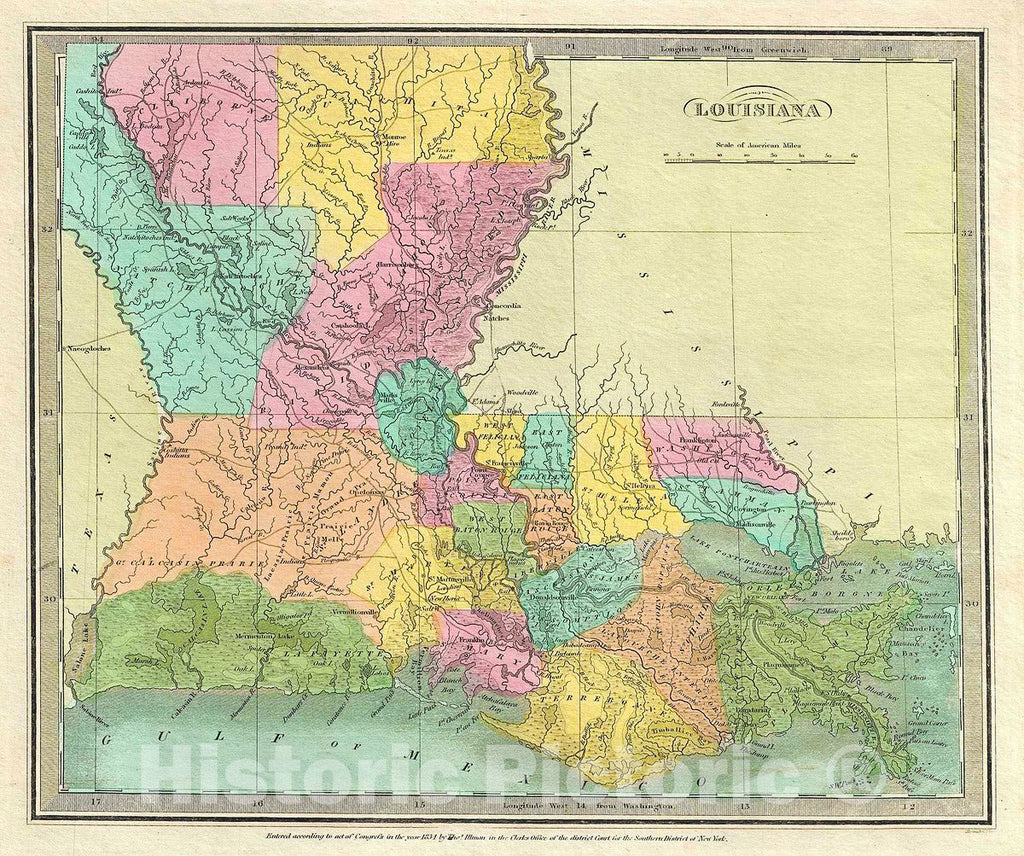 Historic Map : Burr Map of Louisiana, 1834, Vintage Wall Art