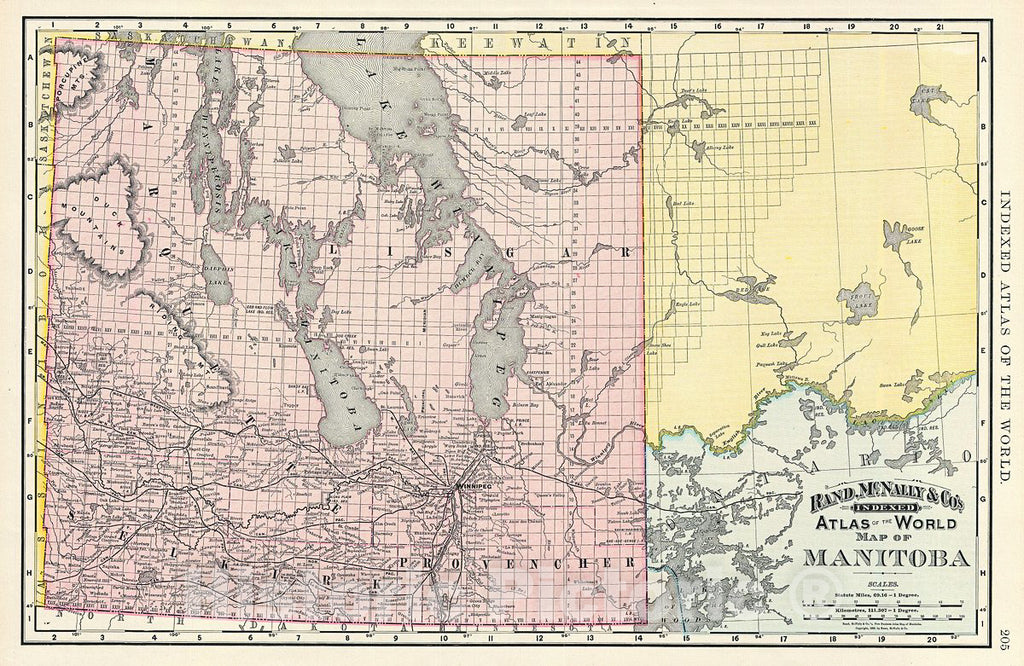 Historic Map : Rand McNally Map of Manitoba, Canada, 1892, Vintage Wall Art