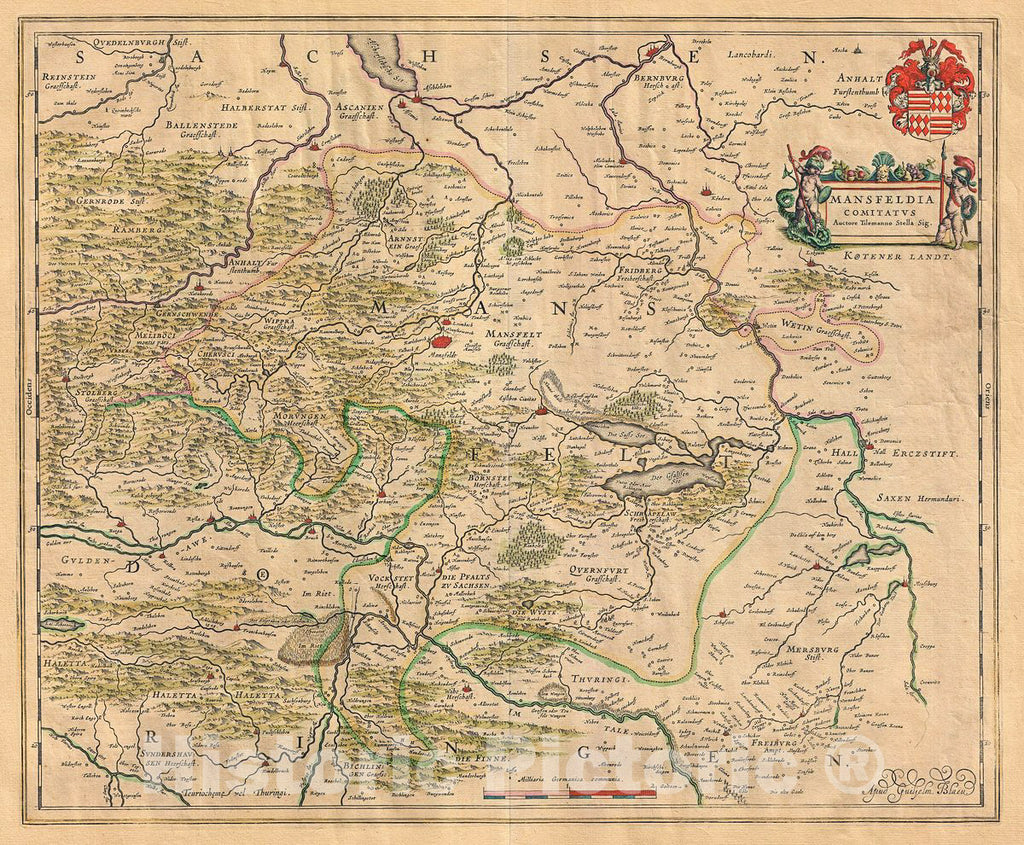 Historic Map : Blaeu Map of Mansfeld, Germany, 1655, Vintage Wall Art