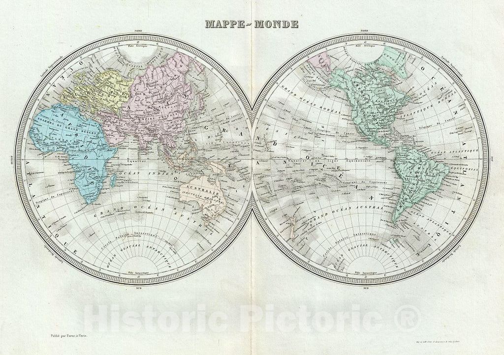 Historic Map : Tardieu Map of The World in Hemispheres, 1874, Vintage Wall Art