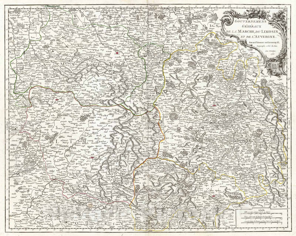 Historic Map : Vaugondy Map of The Limousin, Marche and Auvergne Regions in France, 1753, Vintage Wall Art