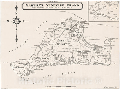 Historic Map : Swift Map of Martha's Vineyard Island, Massachusetts, 1937, Vintage Wall Art
