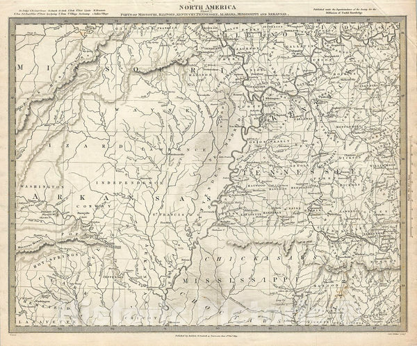 Historic Map : S.D.U.K. Subscriber's Edition Map of Missouri, Arkansas, Tennessee, Alabama and Mississippi, 1833, Vintage Wall Art