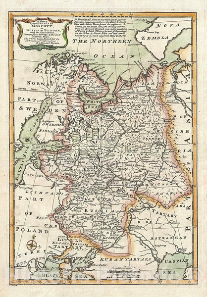 Historic Map : Bowen Map of European Russia, 1747, Vintage Wall Art