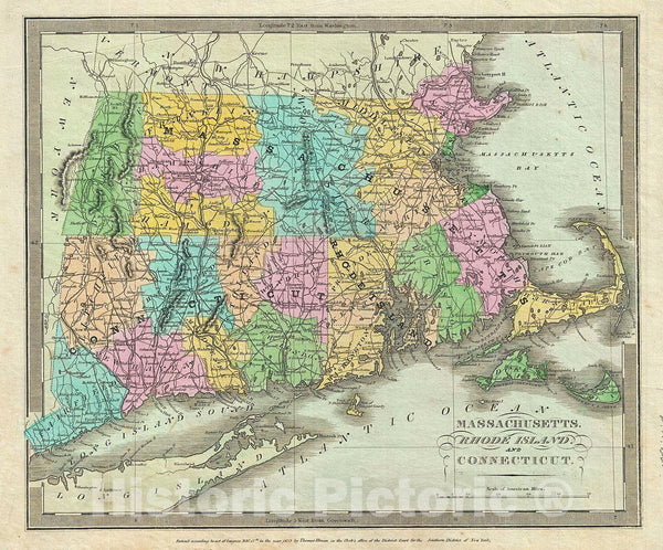 Historic Map : Burr Map of New England (Massachusetts, Connecticut and Rhode Island), 1835, Vintage Wall Art