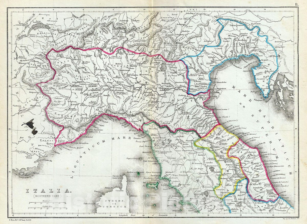 Historic Map : Hughes Map of Northern Italy in Antiquity, 1867, Vintage Wall Art