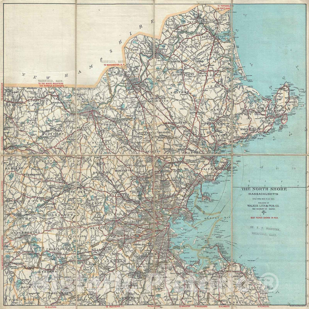 Historic Map : Walker Antique Map of Boston, and Vicinity, North Shore (Cape Ann), Massachusetts, 1902, Vintage Wall Art