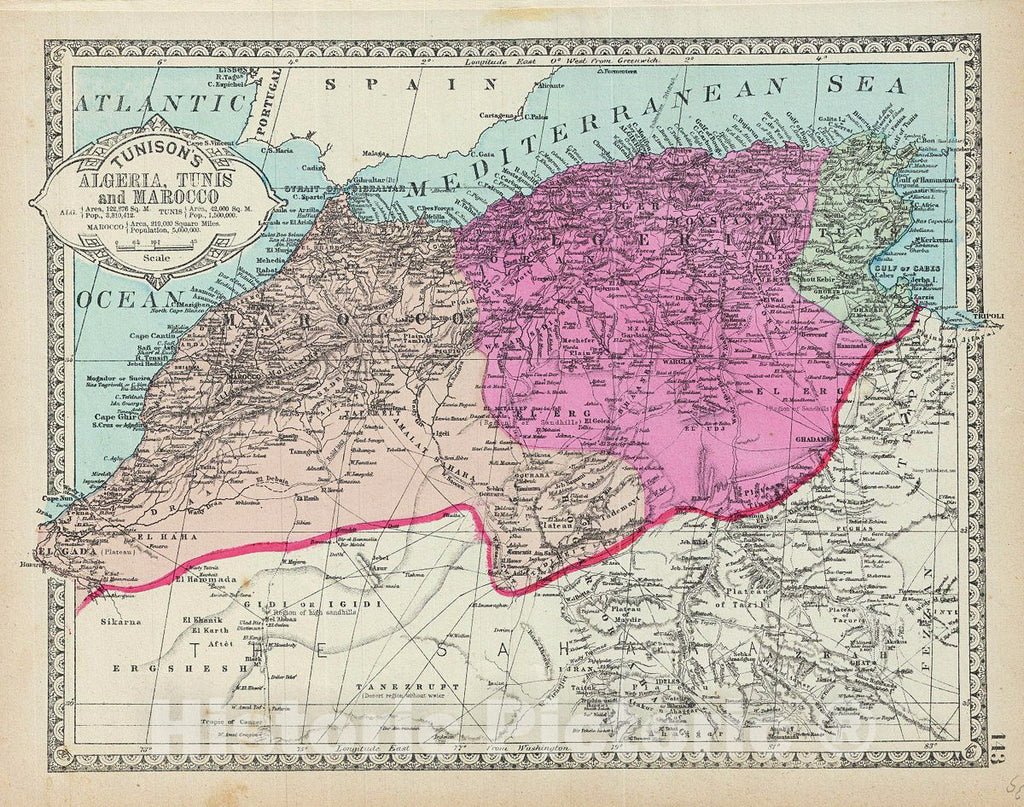 Historic Map : Tunison Map of Northwestern Africa (Algeria, Tunis, Morocco), 1887, Vintage Wall Art