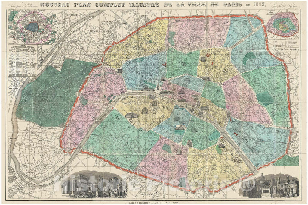 Historic Map : Vuillemin Map or City Plan of Paris, France, 1883, Vintage Wall Art