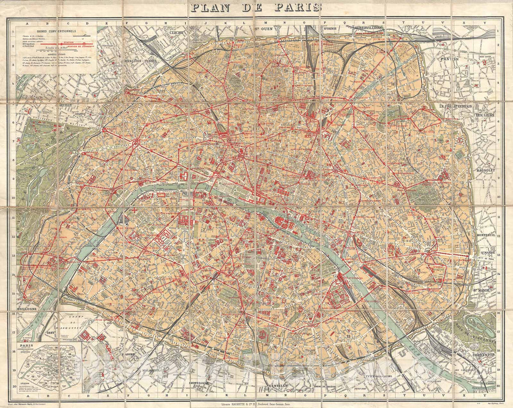 Historic Map : Hachette Pocket Map of Paris, France, 1910, Vintage Wall Art
