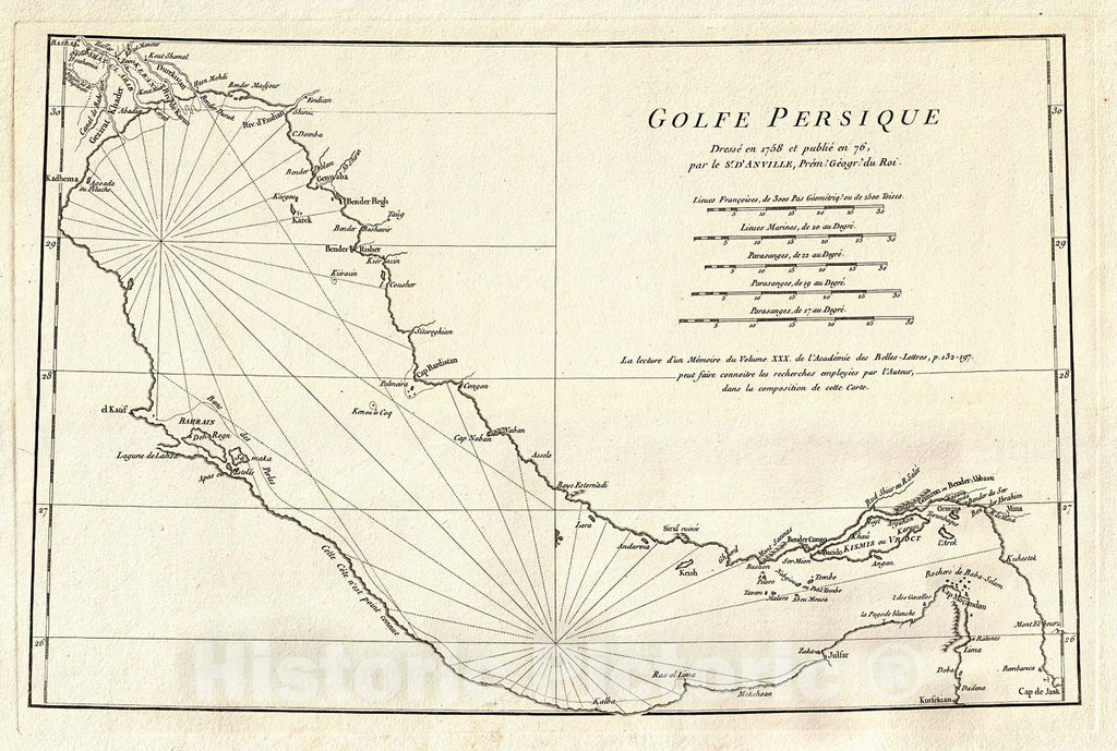 Historic Map : Anville Map of The Persian Gulf, 1776, Vintage Wall Art