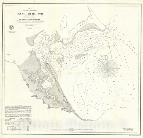 Historic Map : U.S. Coast Survey Chart or Antique Map of Plymouth Harbor, Massachusetts, 1854, Vintage Wall Art