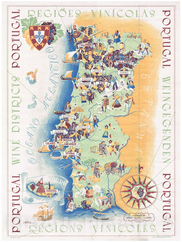 Historic Map : MaÌ?Rio Costa Pictorial Wine Map of Portugal, 1959, Vintage Wall Art