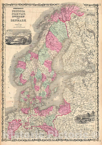 Historic Map : Johnson Map of Scandinavia (Norway, Sweden, Denmark) and Prussia, 1862, Vintage Wall Art