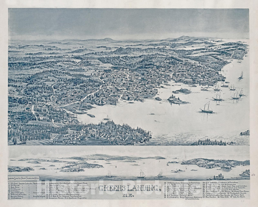 Historic Map : George E. Norris Birds'sEye View Map of Stonington (Greens Landing), Maine, 1893, Vintage Wall Art