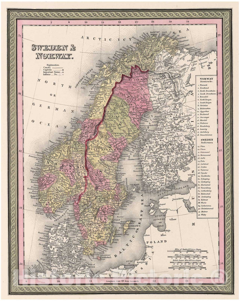 Historic Map : Mitchell Map of Scandinavia (Sweden, Norway), 1849, Vintage Wall Art