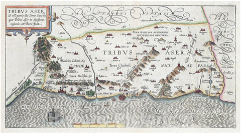 Historic Map : Adrichem Antique Map of Tribe of Asher, Israel (Western Galilee, Mount Hermon), 1590, Vintage Wall Art