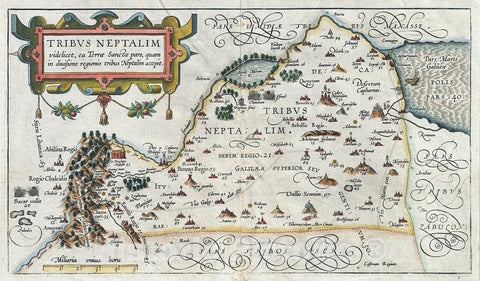 Historic Map : Adrichem Antique Map of The Tribe of Naphtali, Israel (Sea of Galilee, Golan Heights, and Lands North) Version 2, 1590, Vintage Wall Art