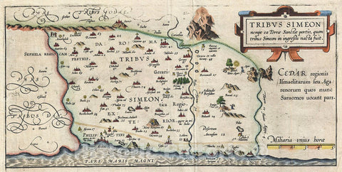 Historic Map : Adrichem Antique Map of The Tribe of Simeon, Israel (South of Canaan), 1590, Vintage Wall Art