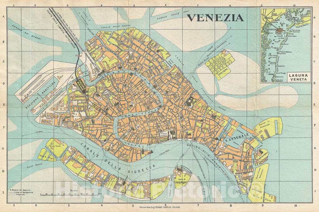 Historic Map : Capello Pocket Map or Plan of The City of Venice, Italy, 1950, Vintage Wall Art