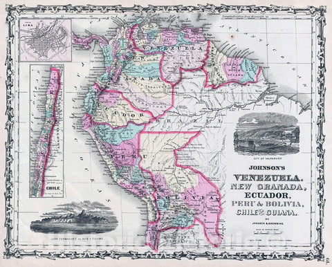 Historic Map : Johnson Map of Venezuela, Colombia, Ecuador, Peru, Bolivia, Chile and Guiana, 1861, Vintage Wall Art