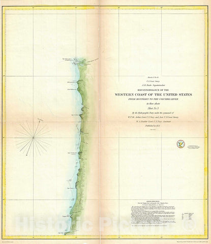 Historic Map : U.S. Coast Survey Antique Map or Chart of The Coast of Washington anArtegon, 1851, Vintage Wall Art