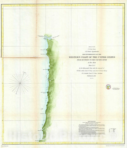 Historic Map : U.S. Coast Survey Antique Map or Chart of The Coast of Washington anArtegon, Version 2, 1851, Vintage Wall Art