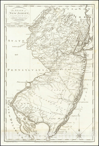 Historic Map : The State of New Jersey Compiled from the Most Authentic Information, 1795, Vintage Wall Art