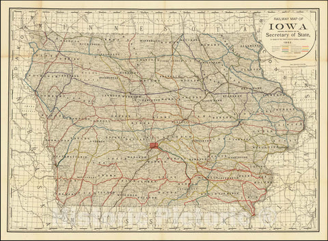 Historic Map : Railway Iowa Prepared and Printed For The Secretary of State By Order of the Twenty-Fourth General Assembly.1892, 1892, Vintage Wall Art