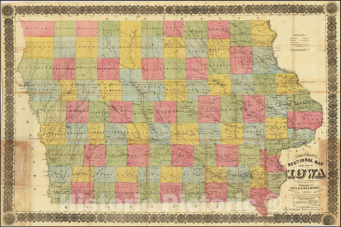 Historic Map : Chapman's Sectional State of IowaCompiled from the United States Surveys and other authentic Sources Published by Dyer & Pasmore, 1857, 1857, Vintage Wall Art